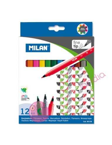 Caja 12 Rotuladores Punta Fina - Milan