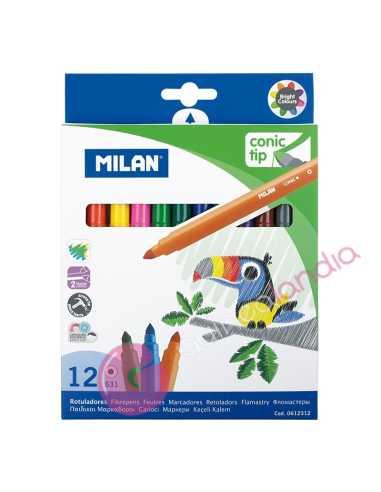 Caja 12 Rotuladores Punta Cónica - Milan