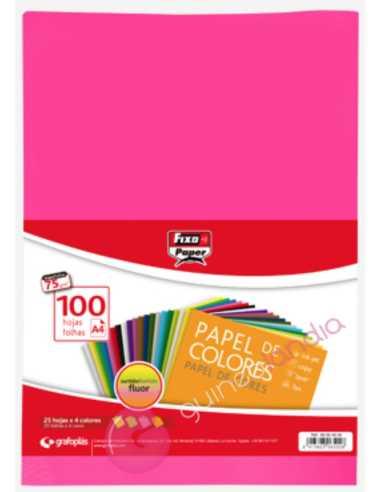 Papel Colores Fluor A4 100 Hojas