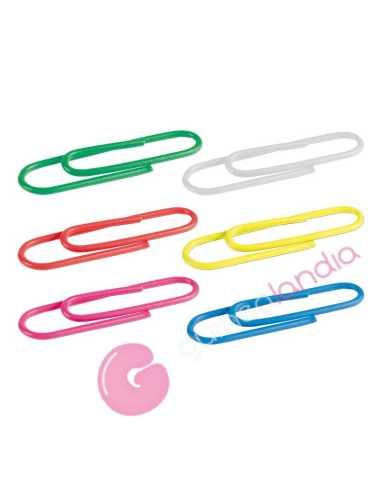 Caja 100 clips colores plastificados...