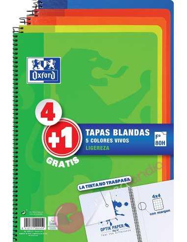 Pack Cuaderno 4+1 Tapa blanda 80...