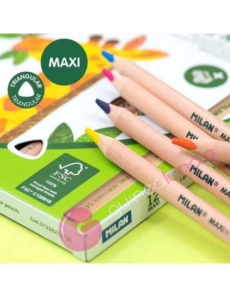 Caja 12 Lápices de Colores MAXI Triangulares - Milan